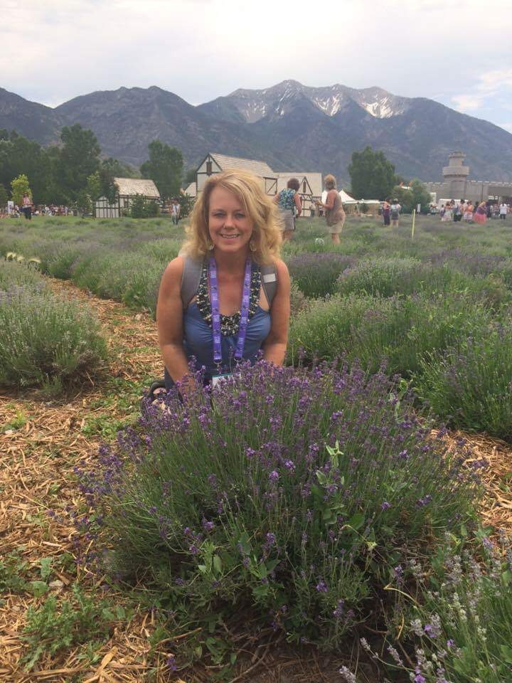 Carmel L. Mooney at Young Living's Mona, Utah lavender farm.