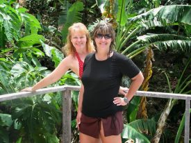 Carmel L Mooney and one of her friends on a comped travel writing cruise to the West Indies.