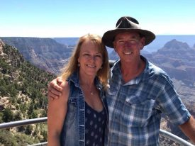 Carmel Mooney and her husband on a comped travel writing trip to the Grand Canyon.