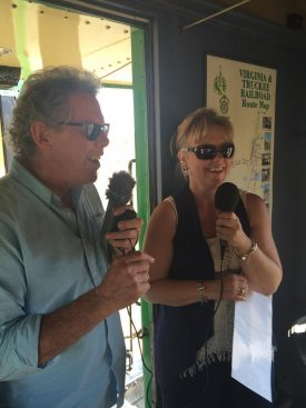 Carmel Mooney and her co-host broadcast a live remote travel tour for their radio show.