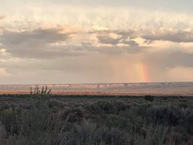 Rainbow over the Arizona desert, on a press trip.