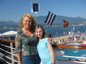 Carmel Mooney traveling on a press cruise with her family.