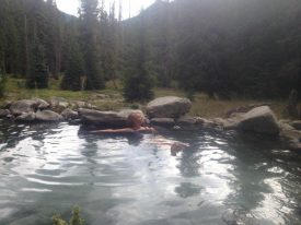 Carmel visiting a favorite hot spring in Idaho.