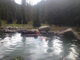 Carmel visiting a favorite hot spring in Idaho.