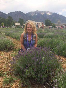 Carmel touring a lavender farm.